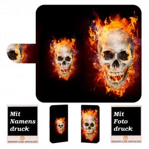 Samsung Galaxy J8 2018 Handy Tasche mit Totenschädel - Feuer + Fotodruck