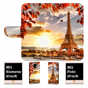 Samsung Galaxy J6 Plus (2018) Handy Tasche Hülle mit Eiffelturm  + Foto Druck