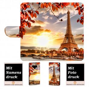 Samsung Galaxy Note 9 Handy Tasche Hülle mit Eiffelturm Bild Text Druck
