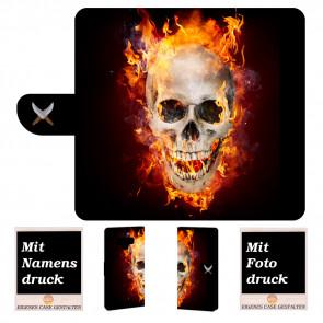 Samsung Galaxy Note 9 Handyhülle mit Totenschädel - Feuer + Fotodruck