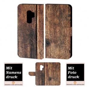 Samsung Galaxy S9 Schutzhülle Handy Tasche mit Holz +Fotodruck