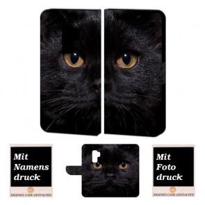 Samsung Galaxy S9 Plus Handy Hülle mit Schwarz Katze + Fotodruck Text