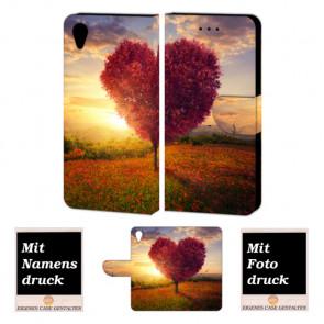 Sony Xperia X Handy Schutzhülle Tasche mit Herzbaum + Bild Druck