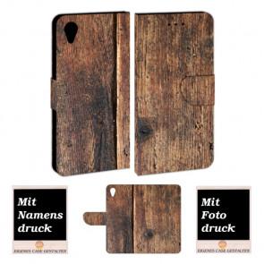 Schutzhülle Handy Hülle mit Bilddruck HolzOptik für Sony Xperia XA1