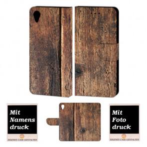 Sony Xperia X Schutzhülle Handy Tasche mit Holz + Foto Text Druck