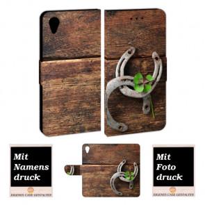 Sony Xperia XA1 Schutzhülle Handy Hülle mit Bilddruck Holz hufeisen