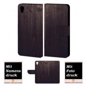 Handy Tasche Hülle mit Holz Optik Bild Druck für Sony Xperia X