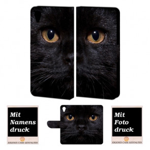 Sony Xperia X Schutzhülle Handy Hülle mit Schwarz Katze + Foto Druck