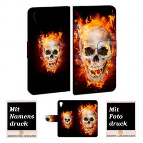 Handy Hülle mit Bilddruck Totenschädel Feuer für Sony Xperia XA1