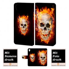 Handy Hülle für Sony Xperia X mit Totenschädel - Feuer Bilddruck