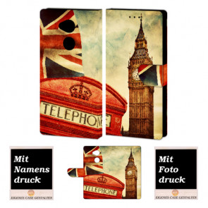 Sony L2 Handy Hülle Tasche mit Big Ben-London + Foto +Text + Druck Etui