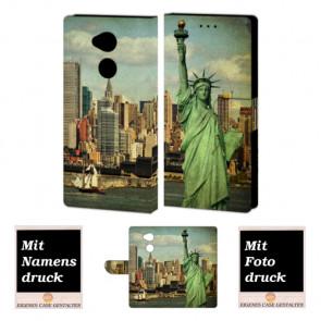 Sony L2 Handy Hülle Tasche mit Freiheitsstatue + Foto + Text Logo Druck