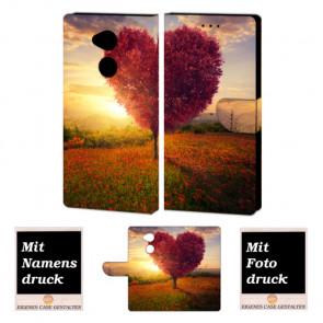 Schutzhülle Tasche mit Herzbaum + Foto Druck für Sony Xperia L2
