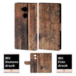 Sony Xperia L2 Schutzhülle Handy Tasche mit Holz Foto Druck Etui