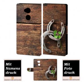 Handyhülle mit Holz - Hufeisen Fotodruck für Sony Xperia L2 Etui