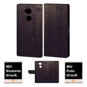 Sony L2 Schutzhülle Tasche mit Holz Optik + Foto + Text Logo Druck Etui