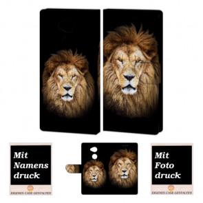 Sony XA2 Personalisierte Handy Tasche Hülle mit Löwe + Foto + Text Druck