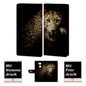 Sony XA2 Personalisierte Handyhülle mit Leopard + Foto +Druck Etui