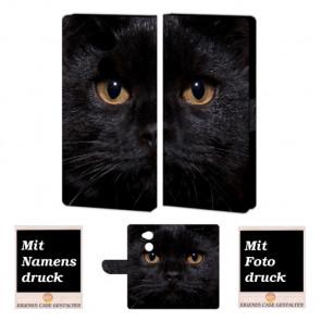 Schutzhülle Handy Hülle für Sony XA2 mit Schwarz Katze + Fotodruck
