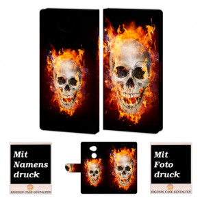 Sony L2 Handy Hülle Tasche mit Totenschädel - Feuer + Foto + Logo + Druck