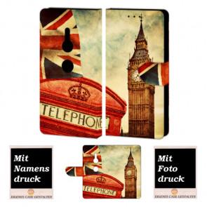 Sony XZ2 Handy Hülle Tasche Etui mit Big Ben-London + Bild +Text + Druck