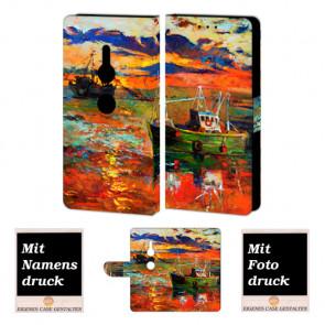 Sony XZ2 Handy Hülle Tasche mit Gemälde + Foto + Text Druck Etui