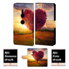 Sony XZ2 Handy Schutzhülle Tasche mit Herzbaum + Foto + Text + Druck Etui