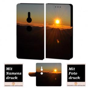 Sony XZ2 Handy Hülle Tasche mit Sonnenaufgang + Foto +Text + Druck Etui