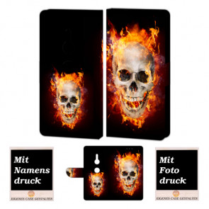 Handy Tasche mit Totenschädel - Feuer Fotodruck für Sony Xperia XZ3