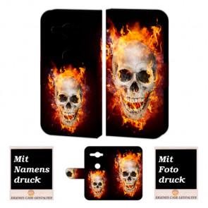 Sony XZ2 Compact Handy Hülle Tasche mit Totenschädel - Feuer + Bild Druck