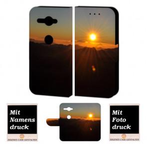 Sony XZ2 Compact Schutzhülle Handy Tasche mit Sonnenaufgang + Foto Druck Etui