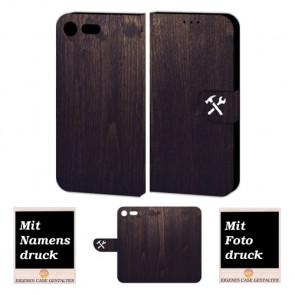 Sony Xperia XZ Premium Handyhülle Tasche mit Holz Optik Bild Text Druck