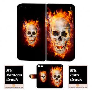 Sony Xperia XZ Premium Handyhülle mit Totenschädel - Feuer Fotodruck