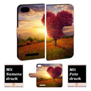 Handy Hülle Tasche mit Foto Druck Herzbaum für Wiko Lenny 3 Max