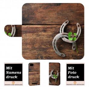 Wiko Lenny 3 Max Handy Hülle Tasche mit Foto Druck Holz hufeisen
