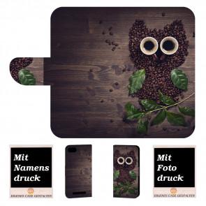 Wiko Lenny 3 Max Handy Hülle Tasche mit Foto Druck Kaffee Eule