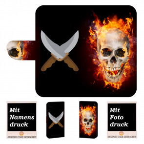 Wiko Lenny 3 Max Handy Hülle mit Foto Druck Totenschädel Feuer