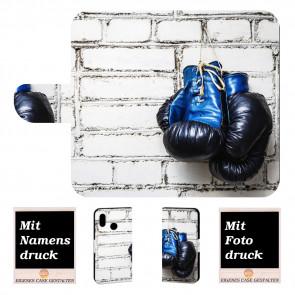 Huawei P Smart (2019) Handy Tasche mit Boxhandschuhe + Bilddruck