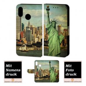 Huawei P20 Lite Handy Hülle Tasche mit Freiheitsstatue + Foto + Text Druck