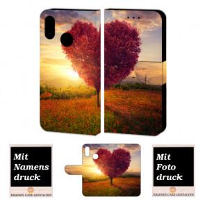 Huawei P20 Lite Handy Schutzhülle Tasche mit Herzbaum + Bild+ Text Druck