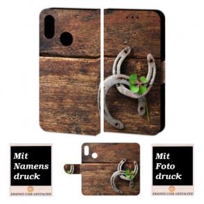 Personalisierte Handy Hülle für Huawei P20 Lite mit Holz - Hufeisen Foto Druck