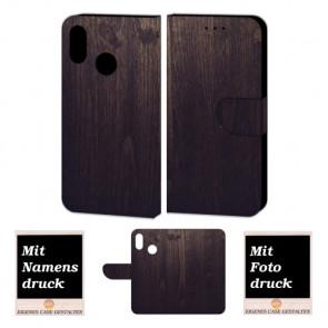 Huawei P20 Lite Schutzhülle Handy Tasche mit Holz Optik + Foto Druck Etui