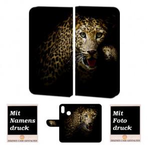 Huawei P Smart Plus Schutzhülle Handy Tasche Hülle mit Leopard + Foto Druck Etui