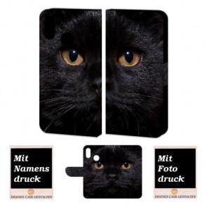 Handy Hülle Tasche mit Schwarz Katze Bilddruck für Huawei P20 Lite