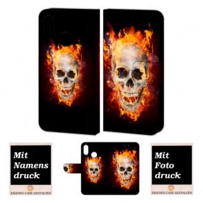 Huawei P Smart Plus Handy Hülle Tasche mit Totenschädel - Feuer + Foto Druck