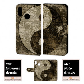 Huawei P Smart Plus Schutzhülle Handy Tasche mit Yin Yang + Foto Druck