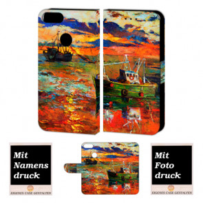 Personalisierte Handy Hülle für Huawei P Smart mit Gemälde + Foto Druck Etui