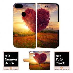 One Plus 5 Handy Schutzhülle Tasche mit Herzbaum + Foto + Text Druck Etui