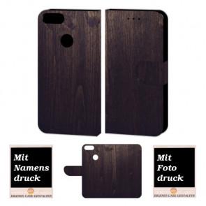 Huawei P Smart Schutzhülle Tasche Etui mit Holz Optik + Foto +Text Druck