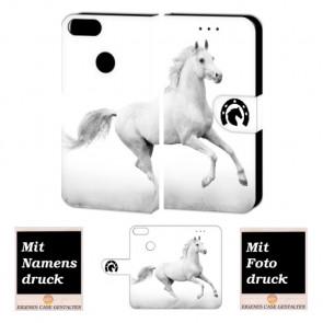 Huawei P Smart Personalisierte Handy Tasche mit Pferd + Foto Druck